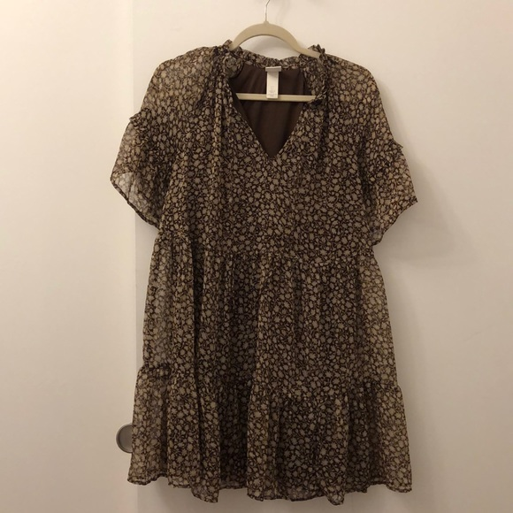 H&M Dresses & Skirts - HM Silk Brown Floral Dress